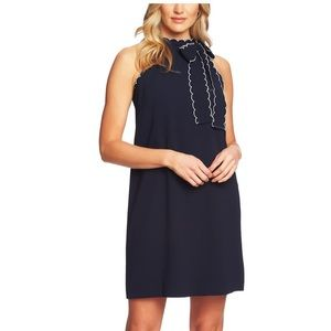 CeCe sleeveless tie neck shift dress